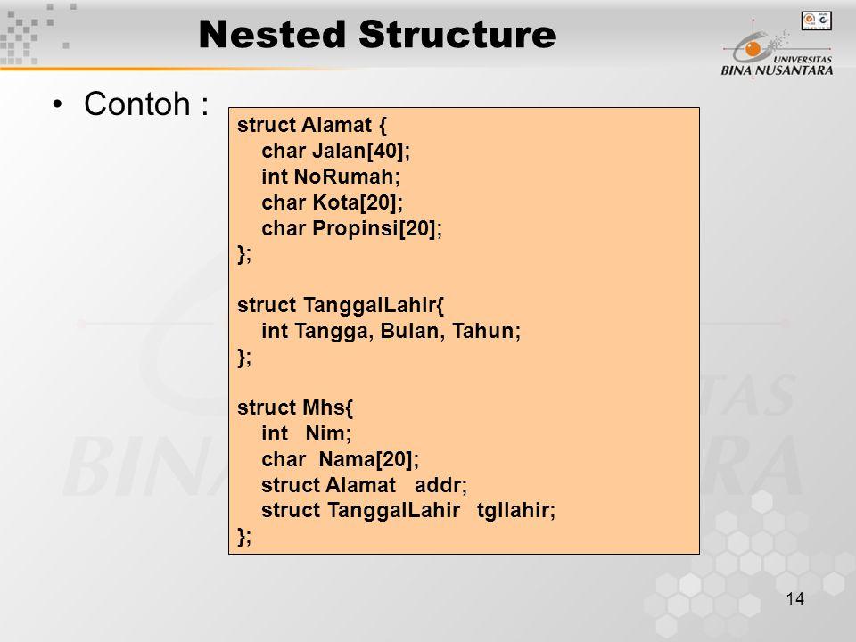 Nested Structure Contoh : struct Alamat { char Jalan[40]; int NoRumah;